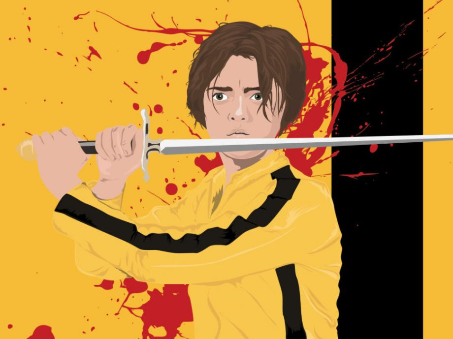 Arya Stark Kill Bill Poster Game of Thrones Mashup Illustration Art Print - Large Giclee on Cotton Canvas and Satin Photo Finish