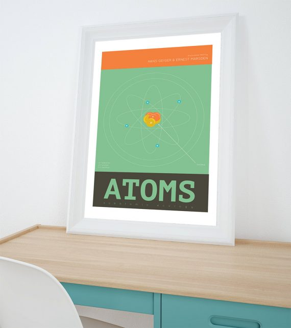 Atoms Minimalist Art Print Science & Physics Illustration Geekery Giclee on Cotton Canvas and Paper Canvas Poster Wall Decor