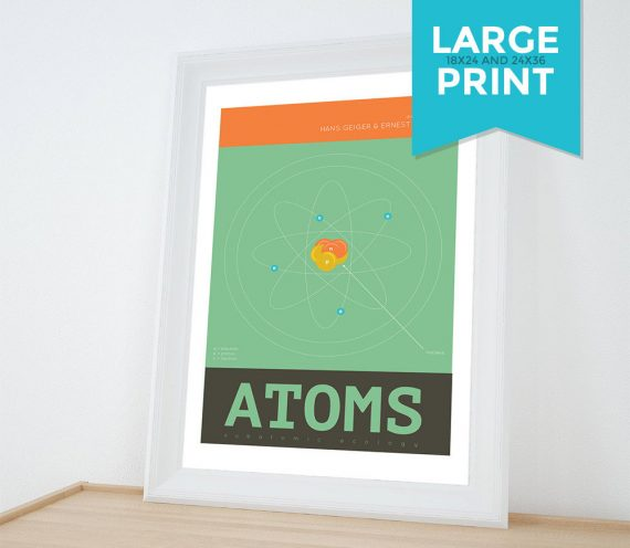 Atoms Minimalist Art Print Science & Physics Illustration Geekery Giclee on Satin or Cotton Canvas Large Poster Wall Decor