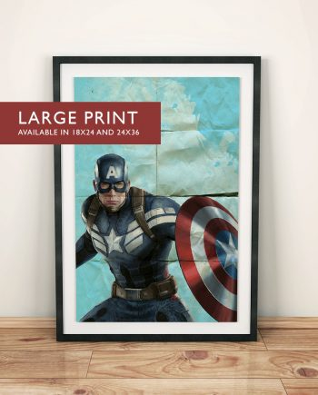 Avengers Captain America Poster Superhero Illustration Marvel Comics Art Print - Large Giclee on Cotton Canvas and Satin Photo Finish