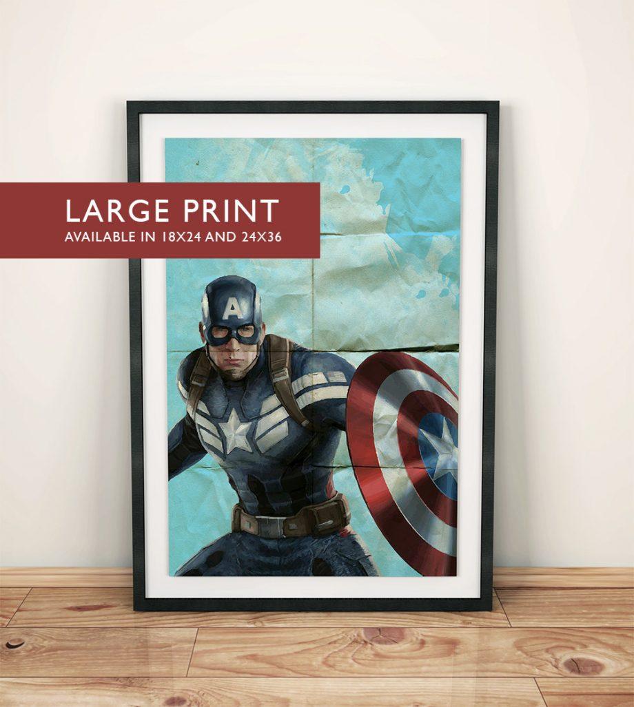 Avengers Captain America Poster Superhero Illustration Marvel Comics Art Print - Large Giclee on Cotton Canvas and Satin Photo Finish