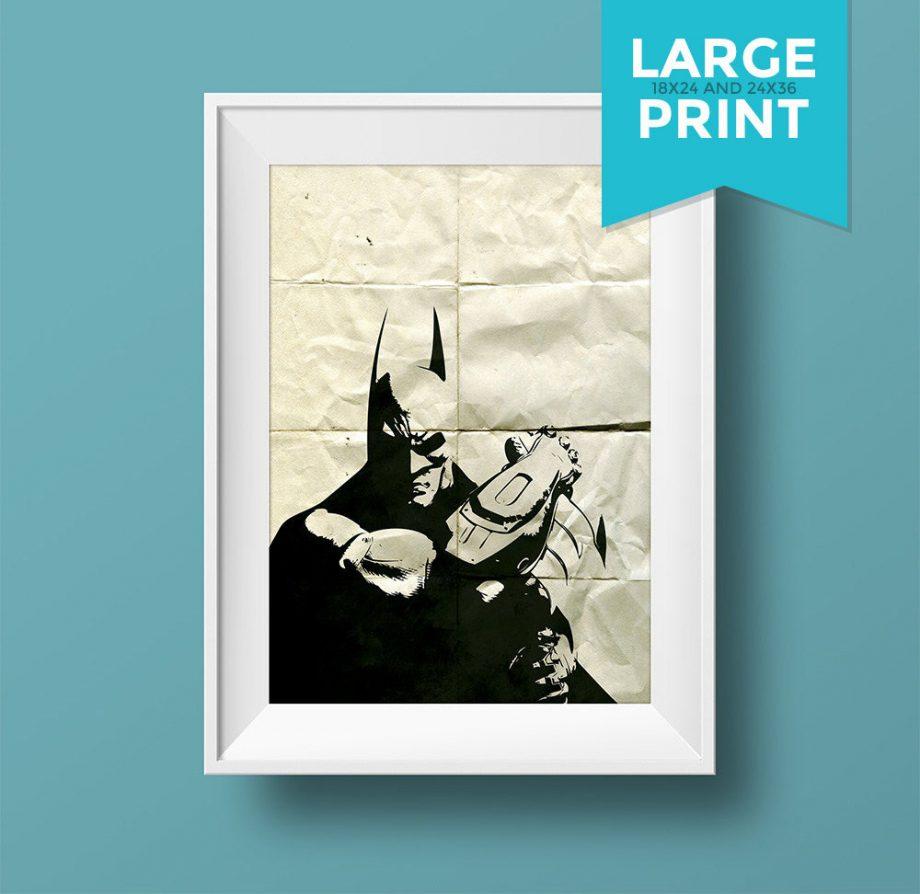 Batman Poster Superhero Illustration DC Comics Dark Knight Movie Giclee Large Poster Print on Satin or Cotton Canvas Wall Art