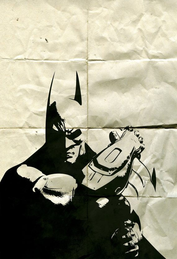 Batman Poster Superhero Illustration DC Comics Dark Knight Movie Giclee Large Poster Print on Satin or Cotton Canvas Wall Art