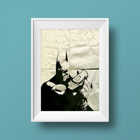 Batman Poster Superhero Illustration DC Comics Dark Knight Movie Giclee Print on Cotton Canvas or Paper Canvas Wall Art