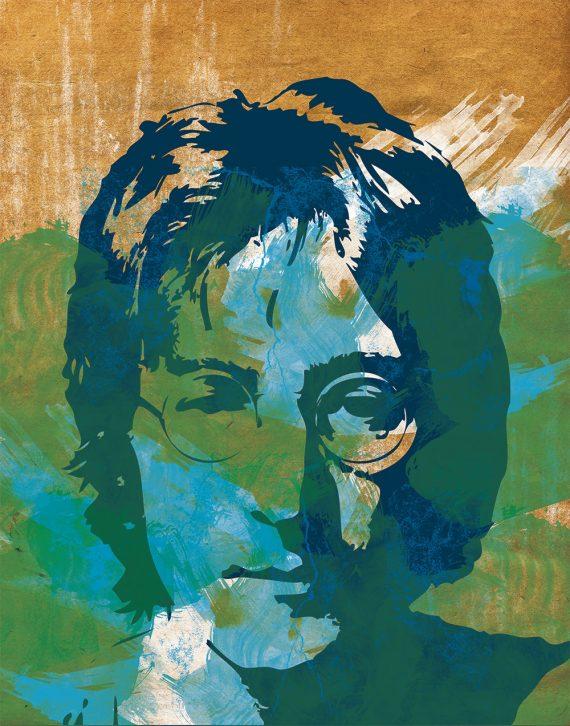 Beatles John Lennon Illustration Sticker Band Poster Grunge