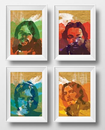 Beatles Poster Art Print Set of 4 Retro Illustrations Classic Rock Vintage Wall Decor John Lennon Paul McCartney George Harrison Ringo Starr