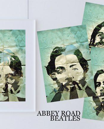Beatles Poster Art Print Set of 4 Retro Illustrations Classic Rock Vintage Wall Decor John Lennon Paul McCartney George Harrison Ringo Starr