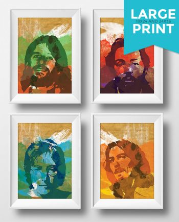 Beatles Poster Art Print Set of 4 Retro Illustrations Large Poster Classic Vintage John Lennon Paul McCartney George Harrison Ringo Starr