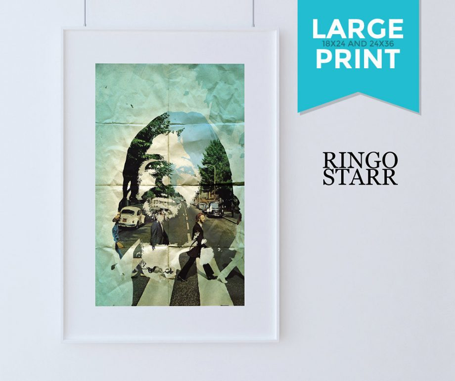 Beatles Poster Art Print Set of 4 Retro Illustrations Large Poster Vintage Wall Decor John Lennon Paul McCartney George Harrison Ringo Starr