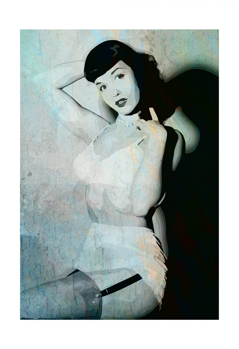 Bettie Page Retro Pin up Illustration Art Print Vintage Giclee on Satin or Cotton Canvas Large Poster Wall Decor