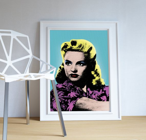 Betty Grable Pop Art print retro Illustration Art Print Giclee on Cotton Canvas and Paper Canvas Poster Wall Decor