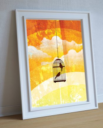 Bird cage abstract art print Illustration Art Print Giclee on Cotton Canvas and Paper Canvas Poster Wall Decor