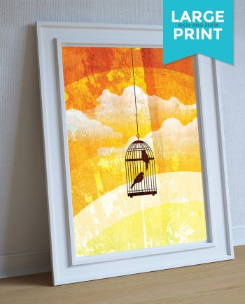 Bird Cage Abstract Wall Decor Illustration Birdcage Art Print Giclee on Satin or Cotton Canvas Large Poster Wall Decor