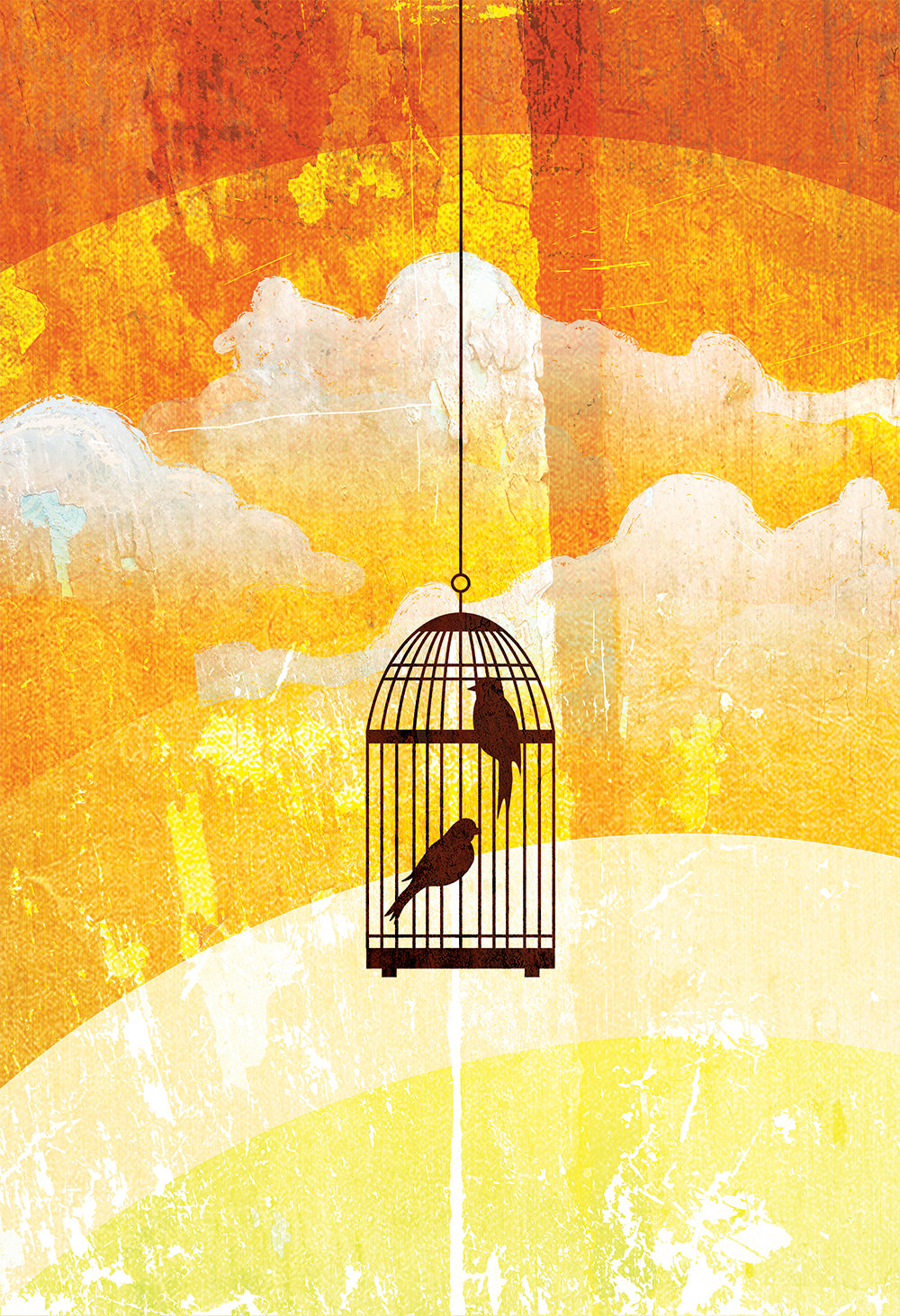 Bird Cage Abstract Wall Decor Illustration Birdcage Art Print Giclee ...