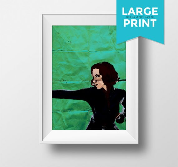 Black Widow Avengers Poster Illustration Natasha Romanoff Marvel Comics Giclee Large Poster Print on Satin or Cotton Canvas Wall Art