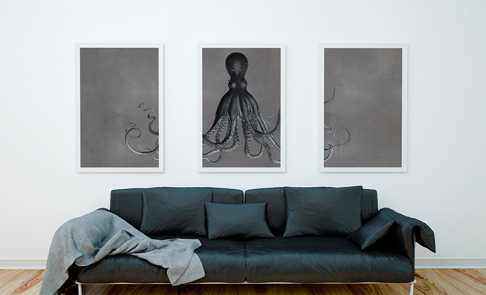 Bodner\'s Octopus Triptych Art Print Sea Squid Vintage Nautical Decor ...