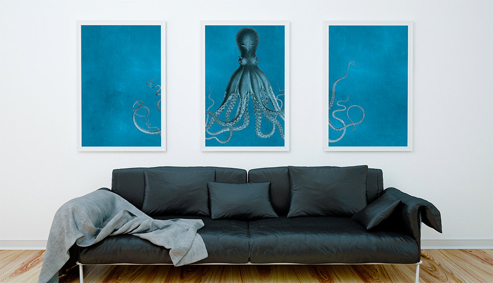 Bodner 39 s octopus triptych art print sea squid vintage for Vintage ocean decor