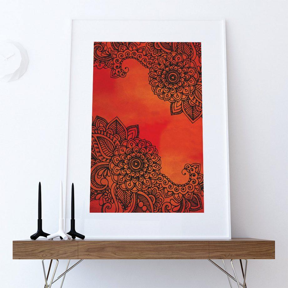 Bohemian Floral art print Illustration Art Large Poster Print Giclee on Satin or Cotton Canvas Boho Wall Decor