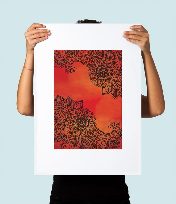Bohemian Floral art print Illustration Art Large Poster Print Giclee on Satin or Cotton Canvas Boho Wall Decor