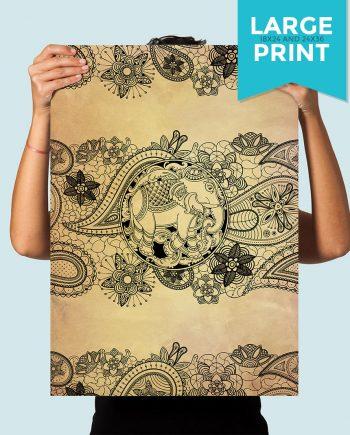 Boho Print Paisley Elephant art print Illustration Art Large Poster Print Giclee on Satin or Cotton Canvas Bohemian Wall Decor