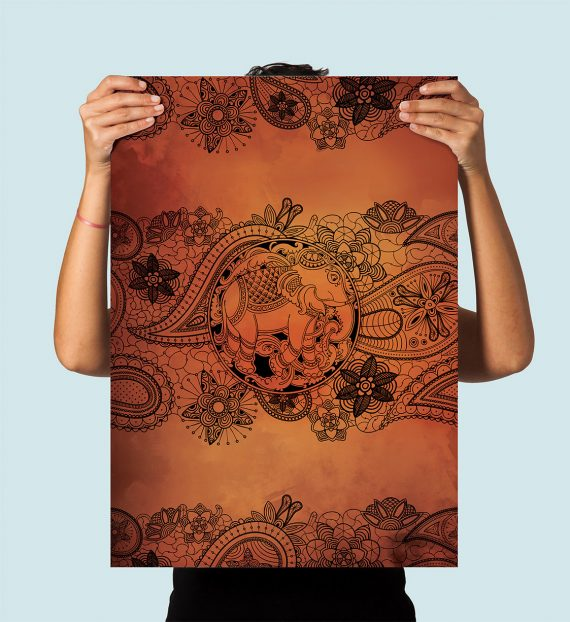 Boho Print Paisley Elephant art print Illustration Art Large Poster Print Giclee on Satin or Cotton Canvas Bohemian Wall Decor