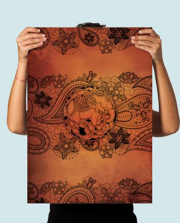 Boho Print Paisley Elephant art print Illustration Art Print Giclee on Paper Canvas Bohemian Poster Wall Decor