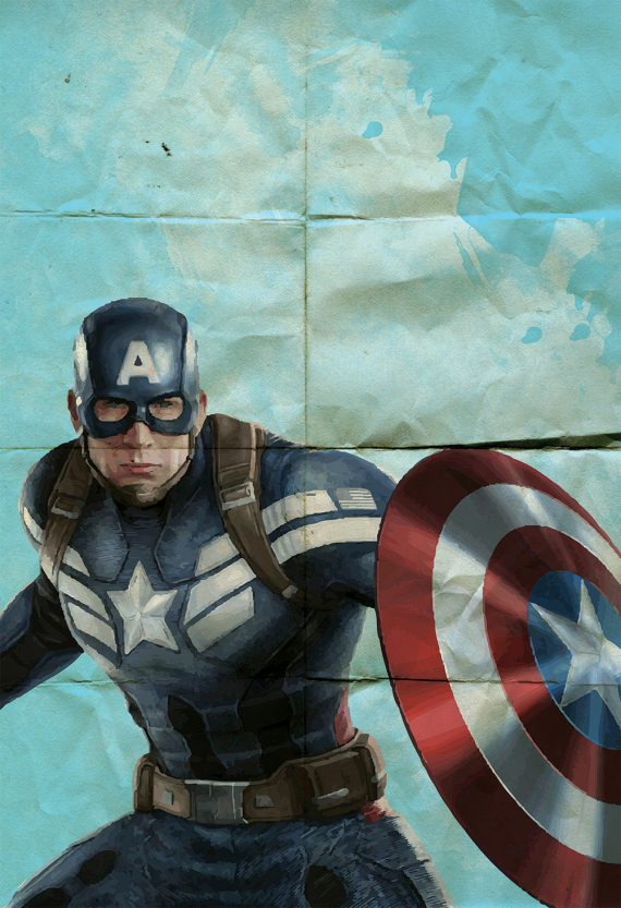 Captain America Poster Avengers Superhero Illustration Marvel Comics Giclee Print on Cotton Canvas or Paper Canvas