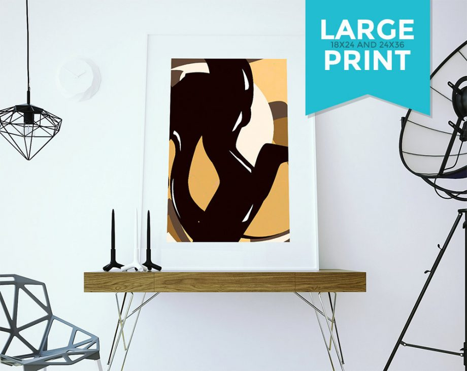 Cat abstract art print Illustration Art Print Giclee on Satin or Cotton Canvas Large Poster Wall Decor