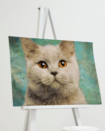 Cat Print Feline British Short Hair Illustration Decor Ocean Wall Art - Giclee Print on Cotton Canvas and Paper Canvas