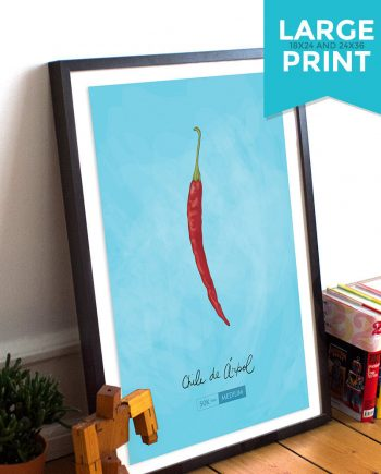 Chile de Arbol Kitchen Art Chili Pepper Print Mexican Rustic Large Print Poster Giclee on Satin or Cotton Canvas