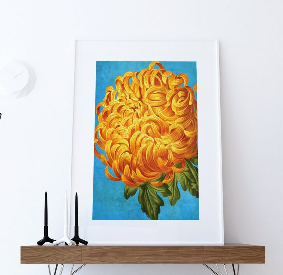 Chrysanthemum decor Chrysanthemum art Chrysanthemum gift botanical print flower kitchen decor floral print floral wall decor wall art Canvas