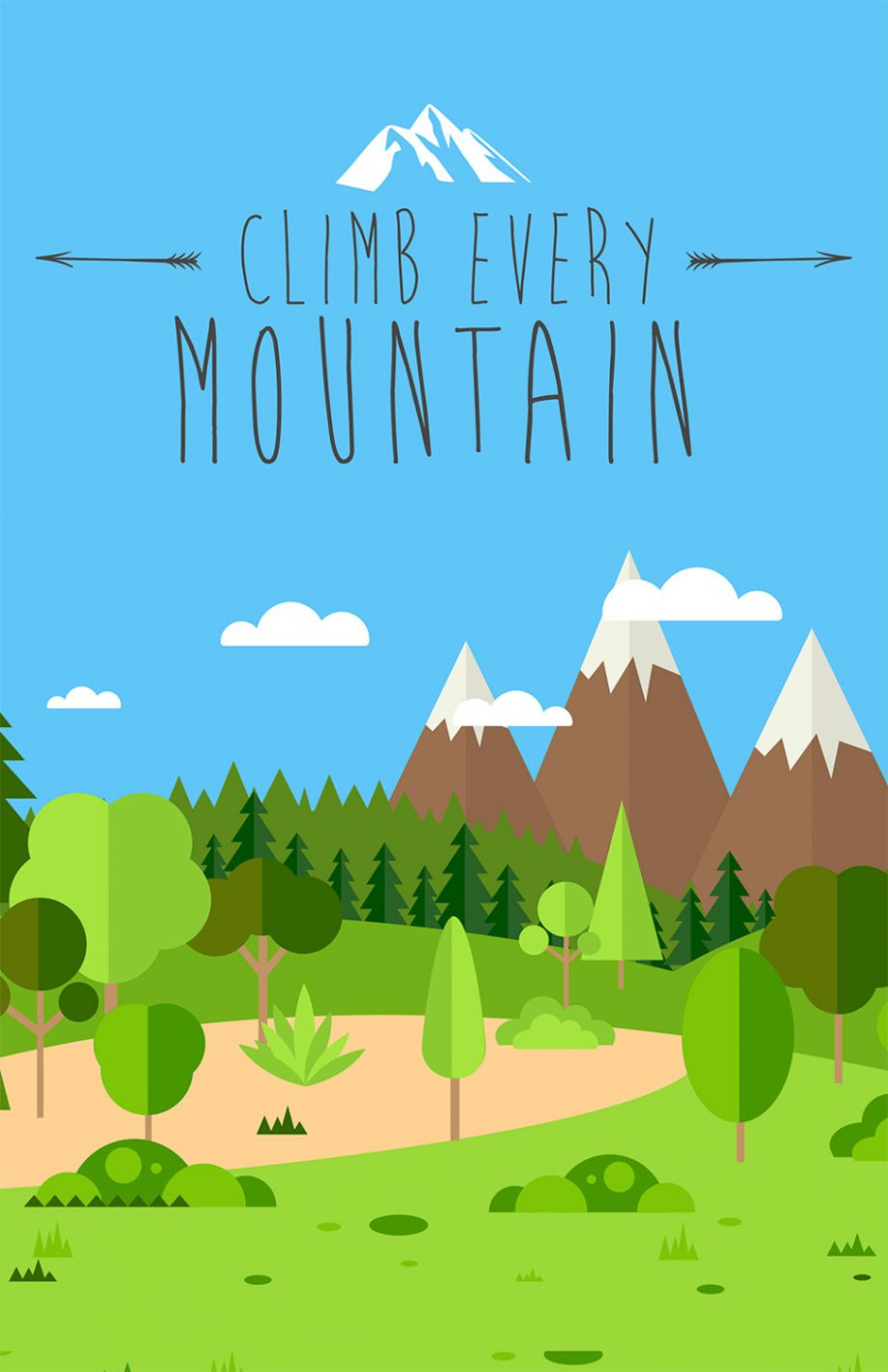 Climb Every Mountain Print Illustration Inspirational Art Print Vintage Giclee on Cotton Canvas and Satin Photo Paper