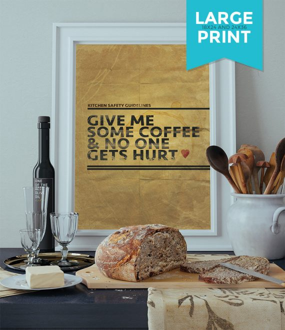 Coffee Poster Kitchen Print Original Giclee Large Poster Print on Satin or Cotton Canvas Funny Home Kitchen Decor