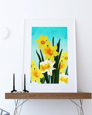 Daffodil decor Daffodil art Daffodil gift botanical print flower kitchen decor floral print floral wall decor Daffodil wall art Canvas