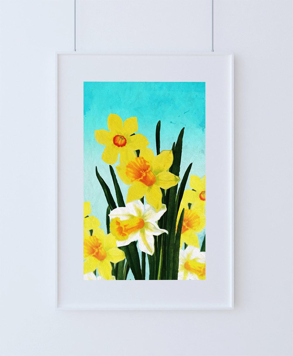 Daffodil Decor Daffodil Art Daffodil Gift Botanical Print