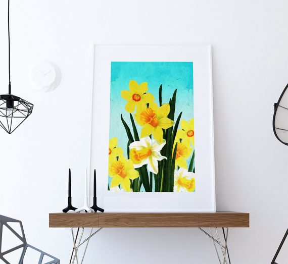 Daffodil Print Daffodil art Daffodil botanical print flower kitchen decor floral print floral wall decor Daffodil wall art - Large Giclee