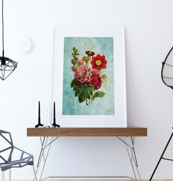 Dahlia, Hollyhock, French-Marygold decor art Flower botanical print kitchen decor Floral print wall decor floral wall art - Large Giclee