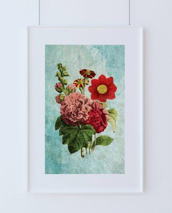 Dahlia, Hollyhock, French-Marygold decor art Flower gift botanical print kitchen decor Floralprint sunflower wall decor wall art Canvas