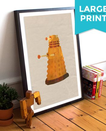 Dalek Doctor Who Poster Time Lord Illustration Exterminate Large Poster Print Giclee on Satin or Cotton Canvas Whovian Wall Art
