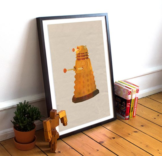 Dalek Doctor Who Poster Time Lord Illustration Exterminate Print Giclee on Cotton Canvas or Paper Canvas Whovian Wall Art
