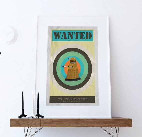 Dalek Wanted Print Illustration Whovian Large Poster Print Giclee on Satin or Cotton Canvas Doctor Who Geek Art
