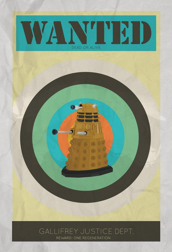Dalek Wanted Print Illustration Whovian Print Giclee on Cotton Canvas and Paper Canvas Doctor Who Geek Art