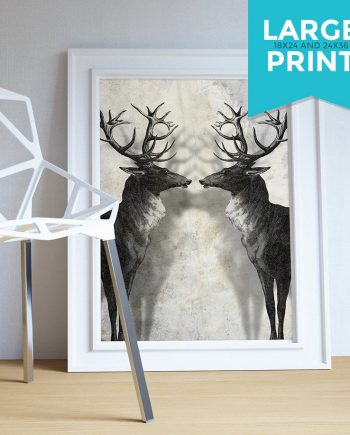 Deer Print Deer Antlers Stag Print Wall Art - Giclee Print on Satin or Cotton Canvas