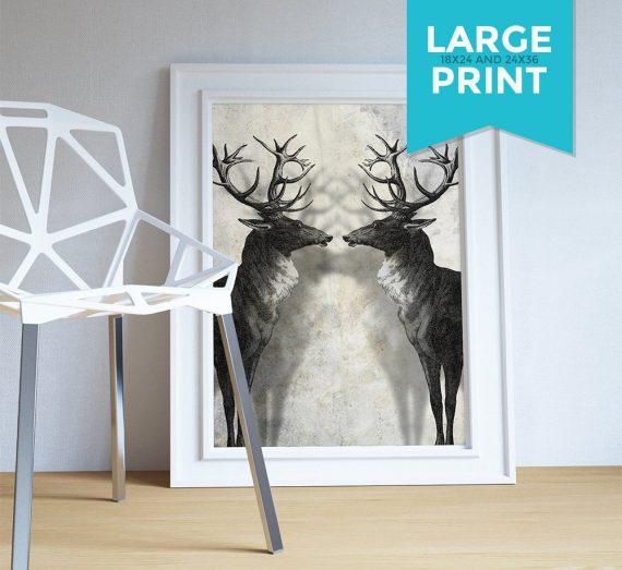 Deer Print Deer Antlers Stag Print Wall Art - Giclee Print on Satin or Cotton Canvas