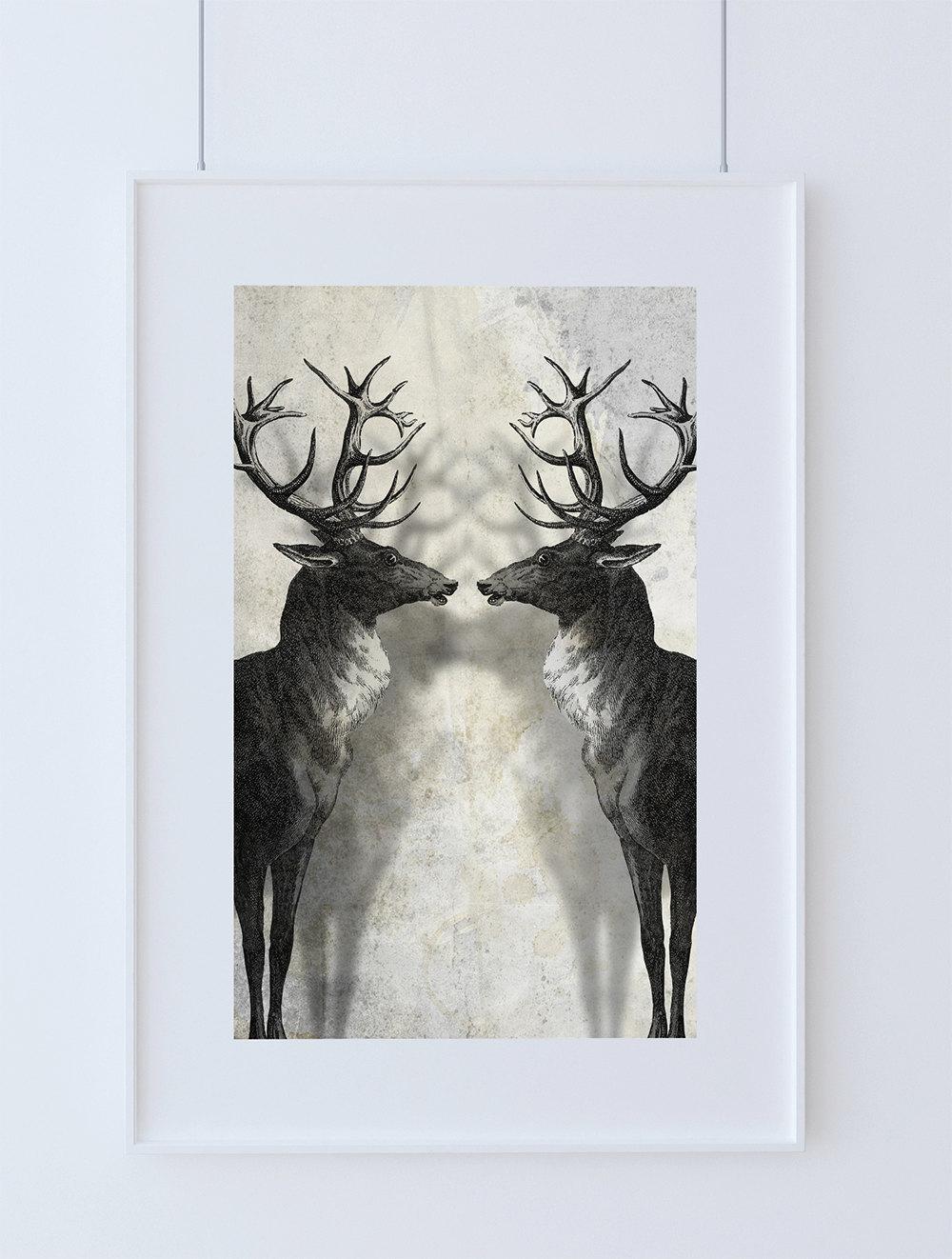 Deer Print Deer Antlers Stag Print Wall Art Giclee Print On Satin