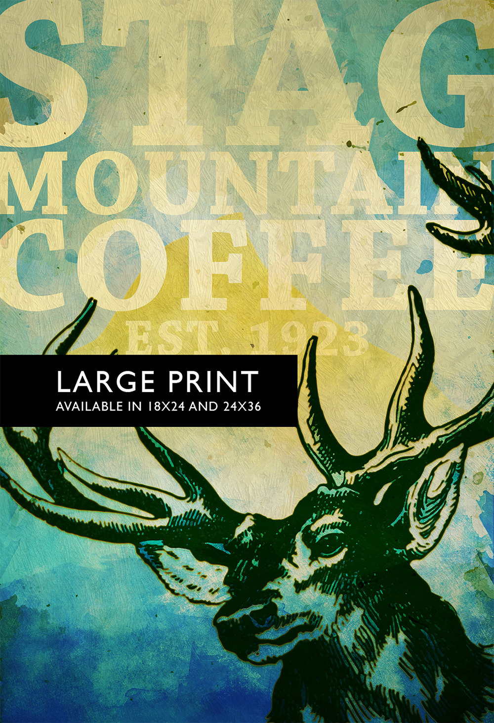 Deer Print Deer Antlers Stag Print Wall Art Stag Mountain Coffee ...
