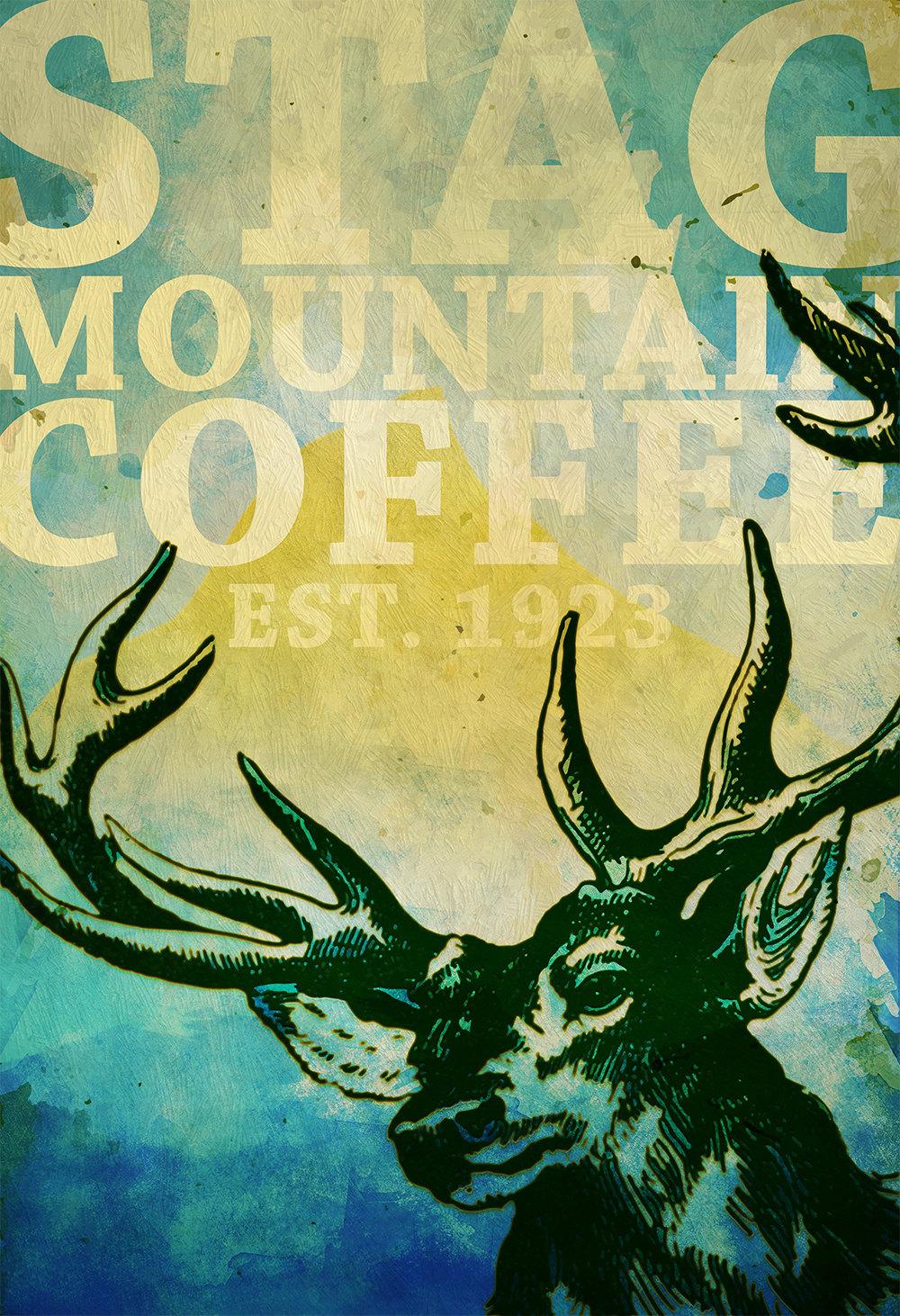 Deer Print Deer Antlers Stag Print Wall Art Stag Mountain Coffee ...