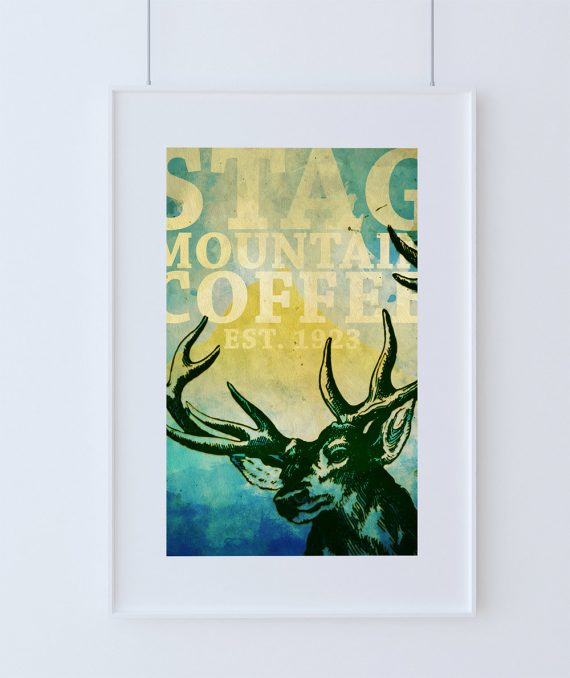 Deer Print Deer Antlers Stag Print Wall Art Stag Mountain Coffee - Giclee Print - Large Giclee on Cotton Canvas and Satin Photo Paper