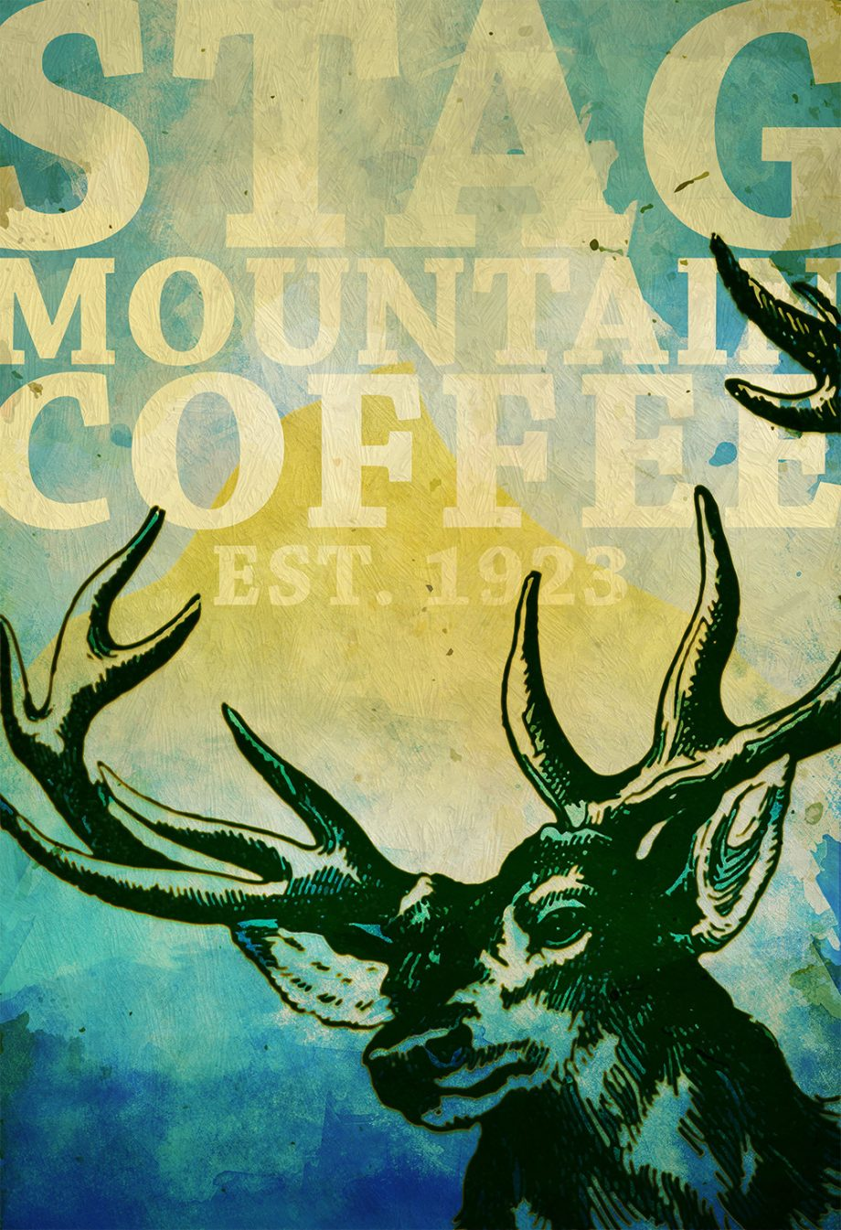 Deer Print Deer Antlers Stag Print Wall Art Stag Mountain Coffee - Giclee Print on Cotton Canvas and Paper Canvas