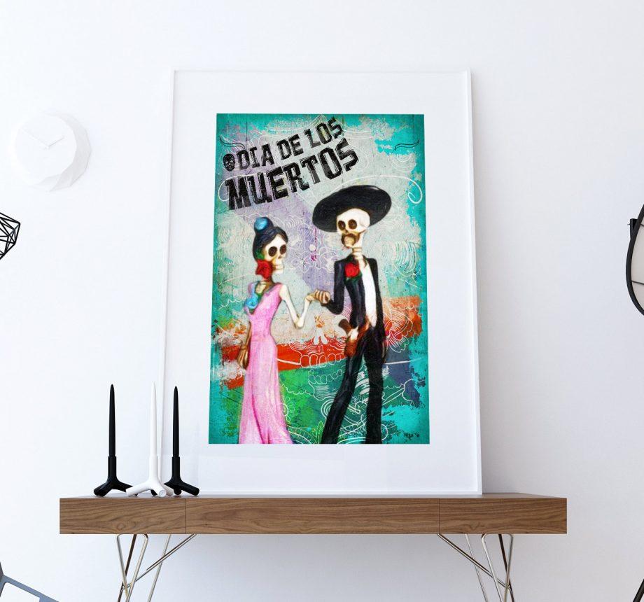 Dia De Los Muertos Mexican El Catrin La Catrina Illustration Art Print Vintage Giclee on Cotton Canvas and Satin Photo Paper